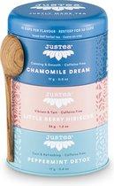 Trio Herbal Tea  - JUSTEA - 68 gram/90 kop - Chamomille dream - Little berry hibiscus - Peppermint Detox - Biologische losse thee - Thee geschenk - Fairtrade