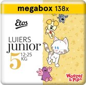 Etos Woezel & Pip Luiers Junior Maat 5 - 12-25 kg - Maandbox 138 stuks (3 x 46 stuks)