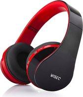 WISEQ Draadloze Koptelefoon Voor Kinderen - Bluetooth 5.0 - Zwart-Rood