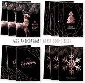 Kerstkaarten - kaartenset - ansichtkaarten - Kerst Geometrisch - 12 stuks - wenskaarten - Kimago.nl