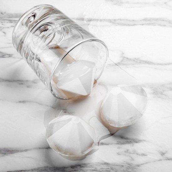 Diamant ijsblokjes vorm - ice cubes - (whiskey ijs & cocktail) ijsblokjes met deksel (blauw-wit) 4 diamanten - siliconen en BPA vrij