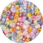 Fako Bijoux® - Letterkralen Vierkant - Letter Beads - Alfabet Kralen - Sieraden Maken - 500 Stuks - Transparant