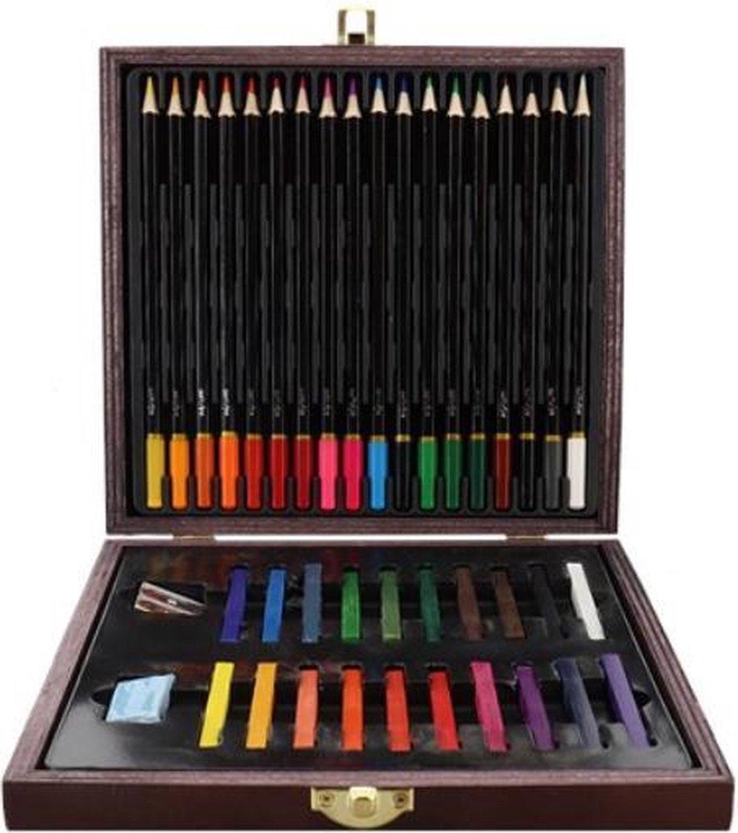 """Kleurkist 40-delig 20 X Kleurkrijt - Carre""""s. 18 X Kleurpotloden. Dubbele metalen puntenslijper.- Set met kleurpotloden, krijtjes, gum en puntenslijper kopen"""