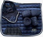 FireHorse Equestrian - Set Midnight Blue| Zadeldekje - Bandages - Oornetje | Dressuur - Veelzijdigheid | Donkerblauw