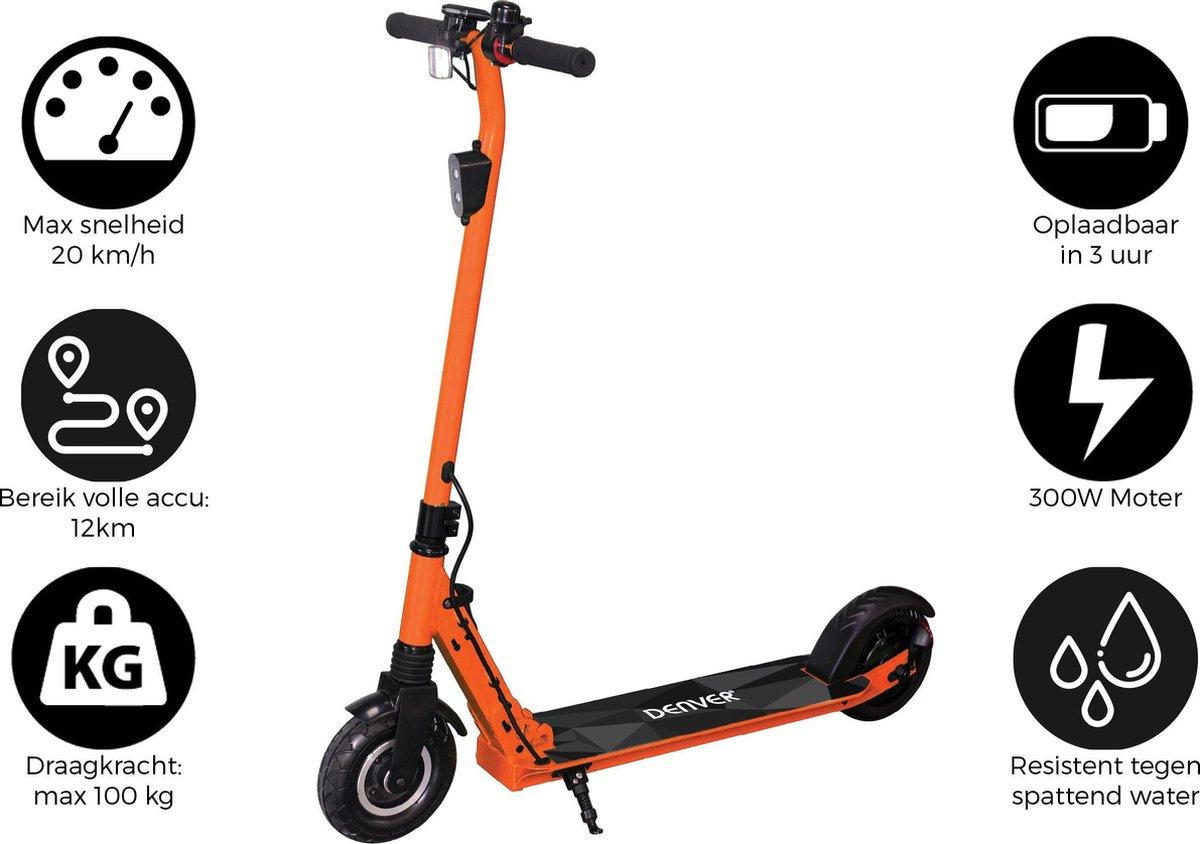 """Denver SEL-80130 Elektrische step voor kinderen & volwassenen 8"""""""" Wielen 20 km/u E-Step met aluminium frame actieradius 12KM Inklapbaar Met LED verlichting voor & achter E-Scooter Oranje online kopen"""