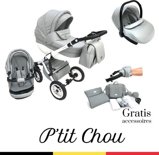 P'tit Chou Trento Grijs/wit - Complete 3 in 1 Kinderwagen set - Buggy + Autostoel + Incl. Accessoires