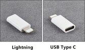 Set van 2 verloopstukjes Apple Lightning connector USB type C Female - USB Type C Naar 8 Pin Voor Apple - verloop adapter Apple Lightning connector naar USB C (Samsung) kabel adapter - Wit