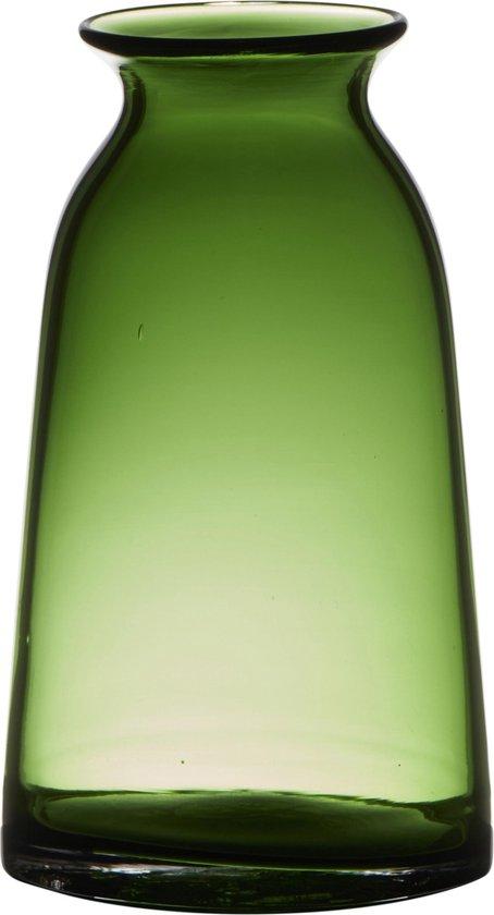 Transparante home-basics groene vaas/vazen van glas 23.5 x 12.5 cm - Bloemen/takken/boeketten vaas voor binnen gebruik