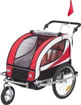 HOMCOM 2 in 1 Fietskar / Jogger 360 ° Draaibaar voor 2 kinderen Rood-Zwart