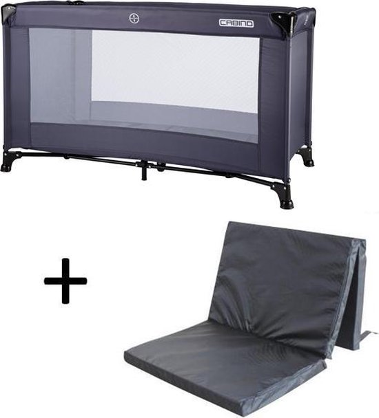Product: Cabino Campingbedje Supreme Inclusief Matras - Grijs, van het merk cabino