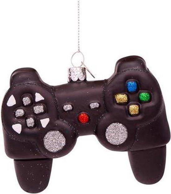 Vondels Glazen kerst decoratie zwarte controller H8cm