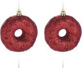 4x Kerstboomhangers kunststof donuts rood 8,5 cm kerstversiering - Kerstboomversiering kerstornamenten/ornamenten