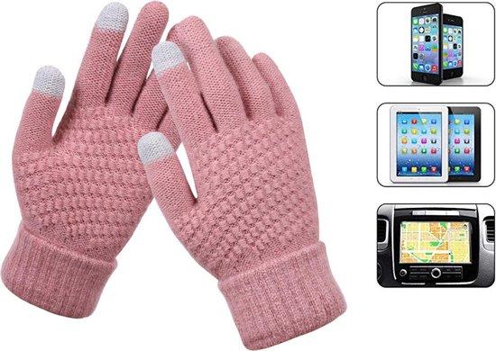 Luxe Gebreide Winter Handschoenen Met Touch Tip Gloves - Touchscreen Gloves - Voor Fiets/Motor/Scooter/Sporten/Wandelen - One-Size - Voor Heerlijk Warme Handen - Winterhandschoenen - Wol - Voor Dames - Roze