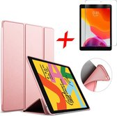 iPad 10.2 (2019) Hoes + Screenprotector - Smart Book Case Siliconen Hoesje - iCall - Roségoud