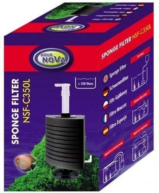 Aqua Nova - Aquariumfilter - Hoek sponsfilter - 350 L/H