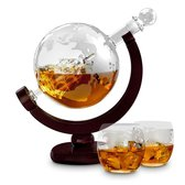 MikaMax Whiskey Globe Decanter Deluxe set - 0,9 L - Incl. 2 Glazen