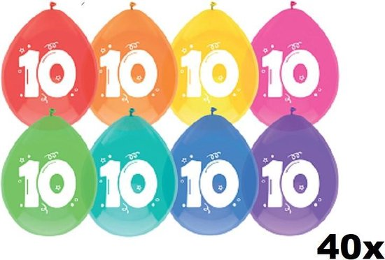 40 x ballon - 10 jaar - multi/wit