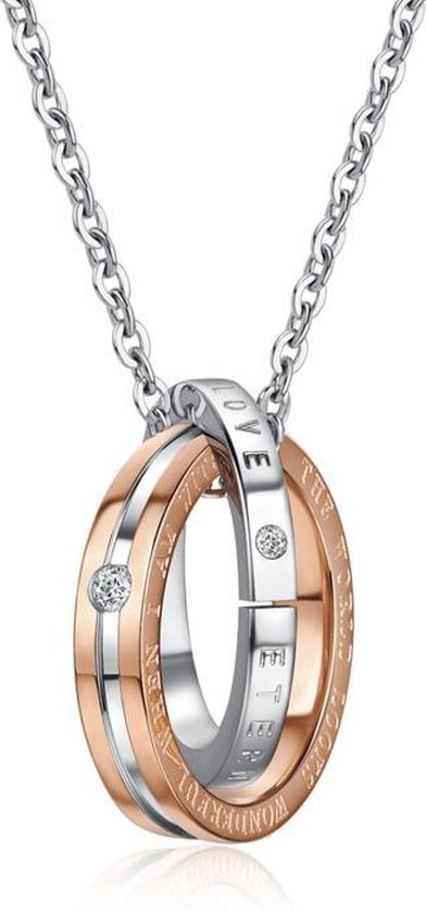 Eternal Love Ringen | Leuke Ketting set voor Hem en Haar | Koppelset | Relatieset | Relatie Cadeau | Relatie Geschenk | Kettingen