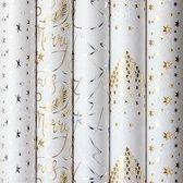 White Christmas luxe kerstpapier inpakpapier cadeaupapier - 150 x 70 cm - 5 rollen