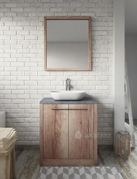 Badplaats - Badkamermeubel Kansas 70cm - Hout look - Badmeubel met waskom en spiegel
