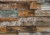 Fotobehang - Stenen Muur - 366 x 254 cm - Multi