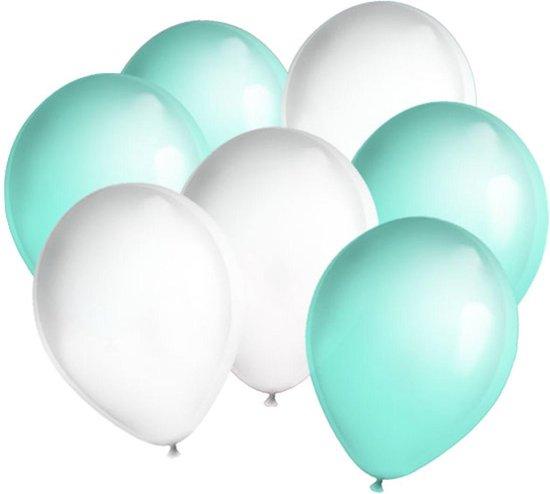 30x ballonnen Mintgroen en Wit (Ook geschikt voor Helium)