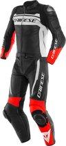 Dainese Mistel Black Matt White Lava Red Leather 2 Piece Motorcycle Suit 48