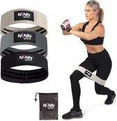 NINN Sports Weerstandsbanden set van 3 Grijs - Bootybands - Weerstandsband - Resistance bands- Fitnessband