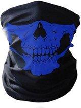 Balaclava Gezicht Shield Tactische Masker Blauw 3D Schedel Sport Nek Warm Volgelaatsmasker Winddicht Motor masker Motorfiets Mondkap Ski Outdoor Sport