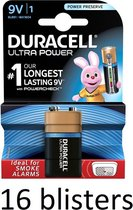 16 Stuk (16 Blisters a 1 st) Duracell Alkaline Ultra Power 9V - 9 Volt