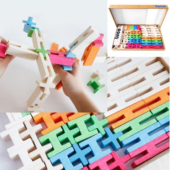 Nieuwe eco vriendelijke houten blokken waarmee je echt kan spelen van Lucotoys, 65 Elementen