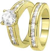 Eve Gold Plated 2 Delige Ring - Met Zirkonia - Maat 57