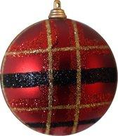 Kerstbal Patroon rood 15 cm
