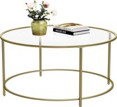 Vasagle Salontafel - ⌀ 90 cm - Ronde Glazen Tafel - Gouden Ijzeren Frame