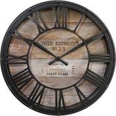 Landelijke Vintage Klok Zwart/Bruin - Ø40CM - Metalen klassieke klok - Metaal/Glas