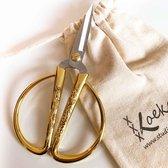 Borduurschaar 13 cm met opbergzakje - kleine schaar met grote handvaten goudkleurig - hobbyschaar