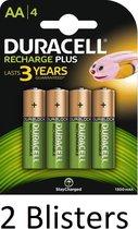 8 Stuks (2 Blisters a 4 st) Duracell AA Oplaadbare Batterijen