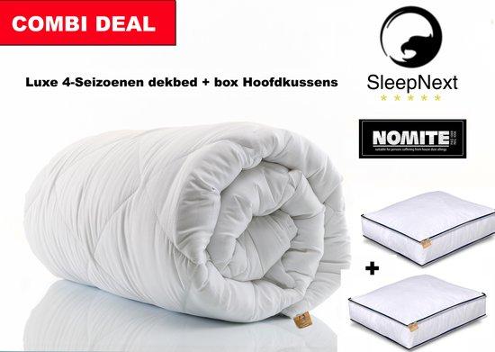 Sleepnext Dekbed Combi deal - 4seizoenen dekbed + 2 x Box hoofdkussen