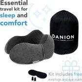 Danion Memory Foam Reiskussen Set - Nekkussen Inclusief Slaapmasker & Oordopjes – Travel Pillow – Vliegtuig Kussen – Auto Kussen- Neksteun Reiskussen - Grijs