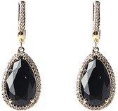 Viva Jewellery  oorstekers gemstone zirkonia zwart