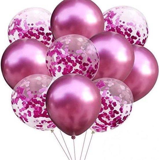 Confetti Ballonnen Set 20 Stuks Groot 30 cm (18 inches)| Roze Witte Confetti Mix | Baby Shower Bruiloft Verjaardag Feestje