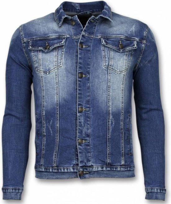 TRUE RISE Spijkerjasje Stone Wash Spijkerjasje Heren Denim Jacket Blauw Maat: L