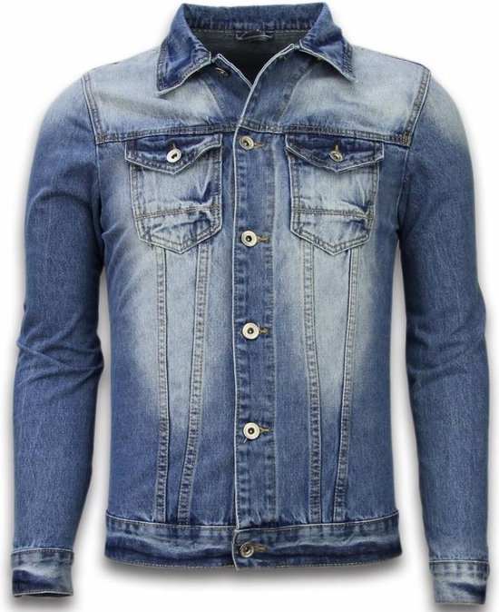 TONY BACKER Spijkerjasje Spijkerjasje Heren Denim Jacket Stonewashed Look Blauw Maat: S