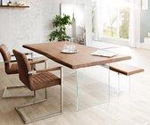 Massief houten tafel Live-Edge Acacia bruin 140x90 bovenblad 5 cm glazen poten boom tafel