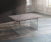 Massief houten tafel Live-Edge met acacia Platinum 140x90 boven 5 cm glazen poten boomtafel