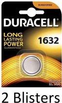 2 Stuks (2 Blisters a 1 st) Duracell 1632 Single-use battery CR1632 Lithium 3 V