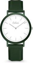 Colori Essentials 5 COL588 Horloge - Siliconen Band - Ø 40 mm - Donker Groen