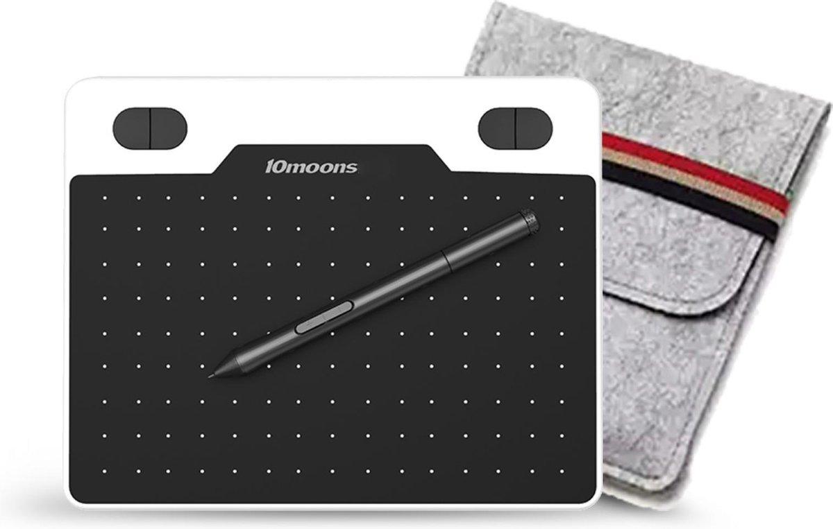 10moons® Grafische Tekentablet - 8192 Drukniveaus - 150mm x 95mm - Incl. Pen & Beschermhoes - Zwart