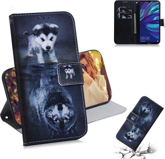 Let op type!! Wolf en hond patroon gekleurde tekening horizontale Flip lederen case voor Huawei Y7 Prime (2019)/Y7 Pro (2019)/genieten van 9  met houder & card slots & portemonnee