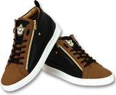 Cash Money Heren Sneaker Bee Camel Black Gold Hoog- CMS98 - Bruin - Maten: 42